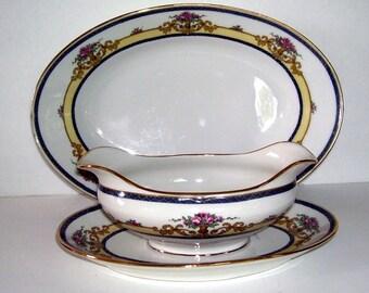 Antique Jean Boyer Limoges France, Porcelain Gravy Boat with Attached Under Plate, Matching Small Platter, French Porcelain, J. Boyer Artist
