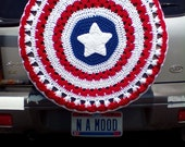Patriotic Red White and Blue with Star Spare Tire Cover Cozy Crocheted FREE SHIPPING Perfect for Kia Sportage Jeep Honda CRV Toyota Rav4 etc