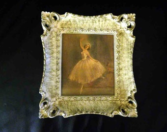 Vintage Shabby White Distressed  Framed Print Featuring a Ballerina