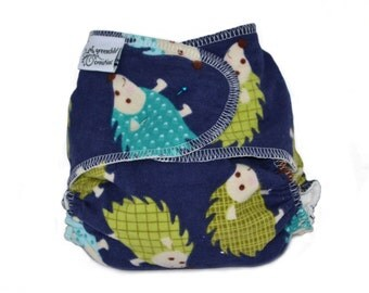 Hedgehogs One Size Fitted Cloth Diaper, Flannel - Add Snaps, Hook and Loop, or Pins