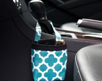 Car Cellphone Caddy, DARK GREEN QUATREFOIL by Riley Blakel, Phone Holder, Sunglass Case, Beach Chair Caddy, Pool Chair Holder, Golf Cart Bag