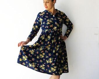 Vintage Floral Dress / Womens Babydoll Dress / Size M L