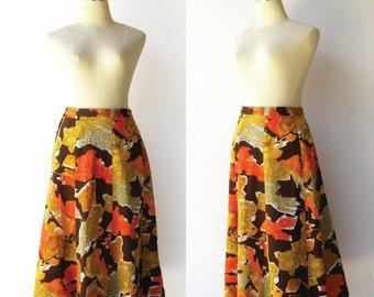 Vintage 1970s Midi Skirt / Fall Colors Skirt / Size S M