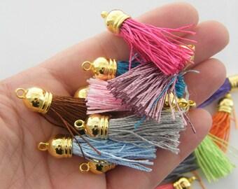 BULK 30 Assorted colour tassel gold pendants