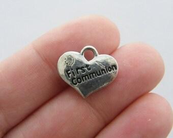4 First communion pendants antique silver tone M465