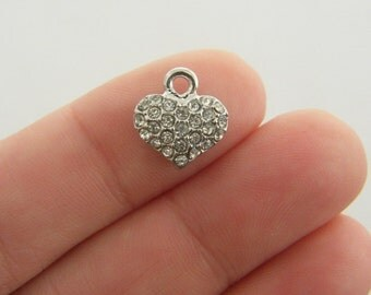 BULK 10 Heart with rhinestone charms antique silver tone H73