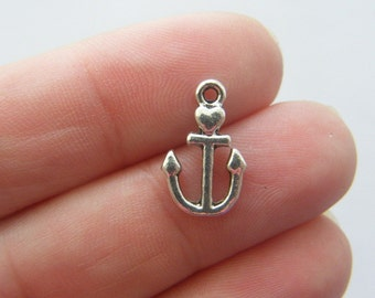 BULK 50 Anchor charms antique silver tone AN27 - SALE 50% OFF