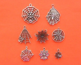 The Spiderweb collection - 8 different antique silver tone charms
