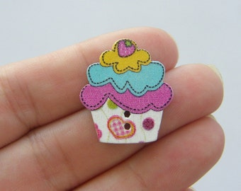 50 Cupcake buttons 25 x 22mm - assorted colours