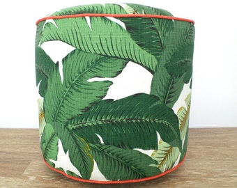 Green pouf ottoman banana leaf, outdoor pouf swaying palms, outdoor seating beach house decor, tropical outdoor ottoman regency decor