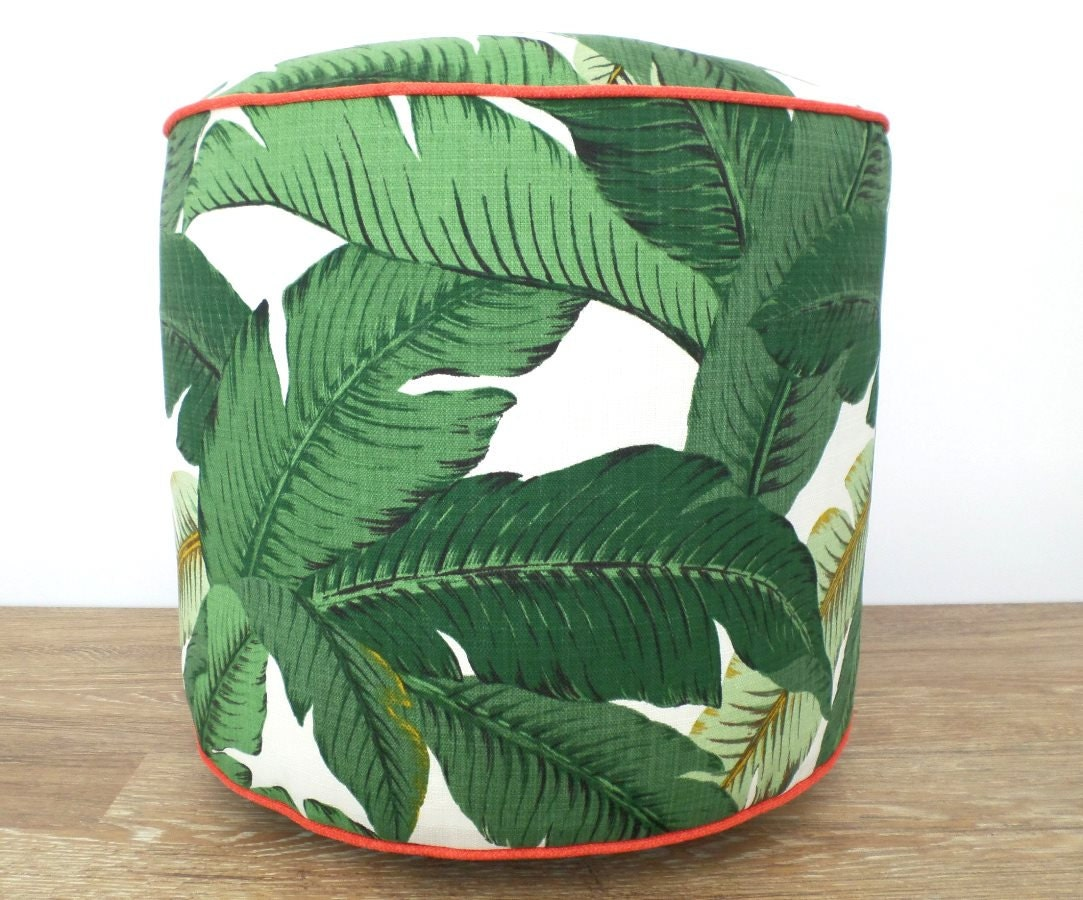green pouf ottoman banana leaf outdoor pouf swaying palms. Black Bedroom Furniture Sets. Home Design Ideas