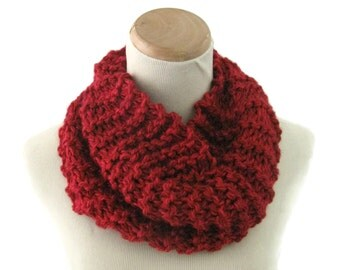 Knit Cowl, Bulky Cowl, Hand Knit Cowl, Winter Scarf, Red Cowl, Fiber Art, Outlander Inspired, Women Scarf, Circle Scarf, Neck Warmer