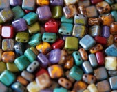 6mm CzechMates Tile Beads - Picasso Tile MIX - Picasso Czech Glass Beads - Two Hole Tile Beads - Bead Soup Beads