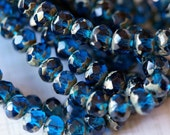 Capri Blue Picasso Rondelle - 7x5mm Czech Glass Rondell - Deep Blue - Faceted Donut Beads - Bead Soup Beads