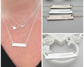 minimalist Necklace, Silver Bar Necklace, Silver Nameplate Necklace, Engraved Necklace, Personalized, Necklace, Bar Necklace