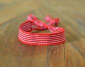 Red Bracelet Fully Striped with Light Blue