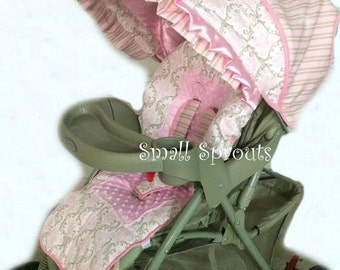 Gorgeous Pink and Taupe Damask/Stripe/Light Pink Minky Dot Stroller Cover
