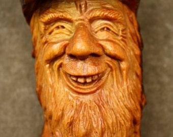 Original wood spirit wood carving tree spirit Wizard wall hanging