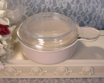 Vintage Pyroceram Corning Ware Corelle Beige Grab It Bowl with Glass Lid, 1970s Mid Century Cookware Dinnerware, Individual Casserole