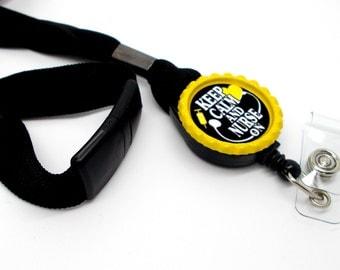 Keep Calm and Nurse On Lanyard Yellow - Nursing ID - Nurse Lanyard - RN Lanyard - Nurse Badge Holder - RN Badge Holder - Name Tag Holder