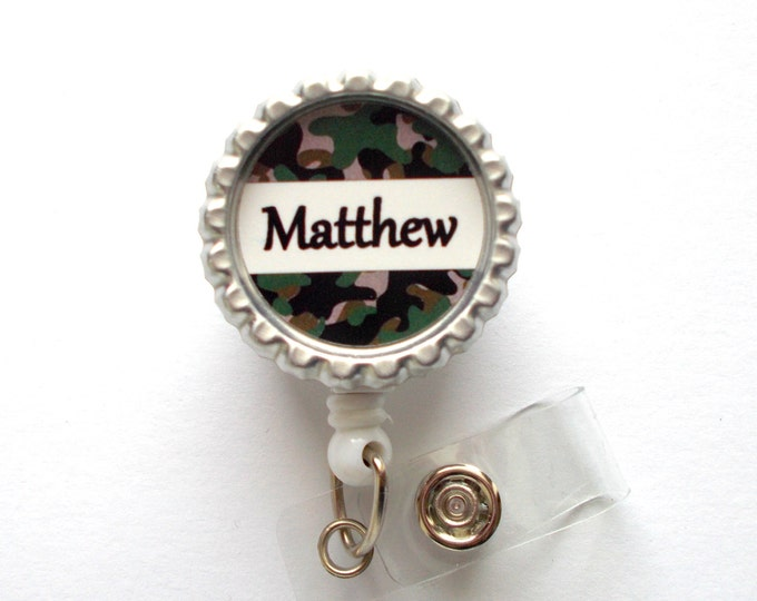 Personalized Camouflage Bottle Cap Badge Reel - Male Badge Reel - Teacher Badge - Doctor Badge Reel - Camo Badge Reel - Male Nurse Badge