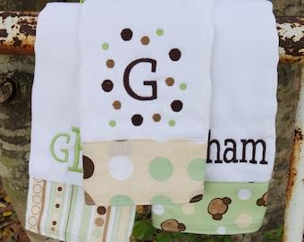 Personalized monkey burp cloth set/boy burp cloth set/baby showere gift