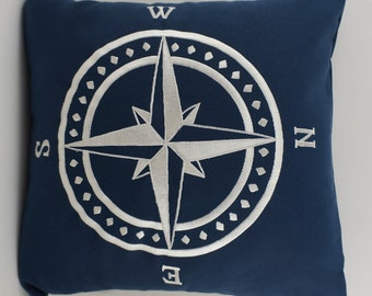 "OUTDOOR Compass Pillow Cover, Embroidery, Nautical Pillow, Beach decor, Decorative Pillow, Accent Pillow, 18""x18"", Navy, Ready to ship"