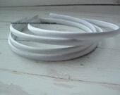 Set of 2 ~ 7mm White Satin Headbands
