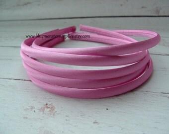 Set of 2 ~ 7mm Hot Pink Satin Headbands
