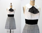 Vintage Dress - 1960s Black and White Plaid and Dots
