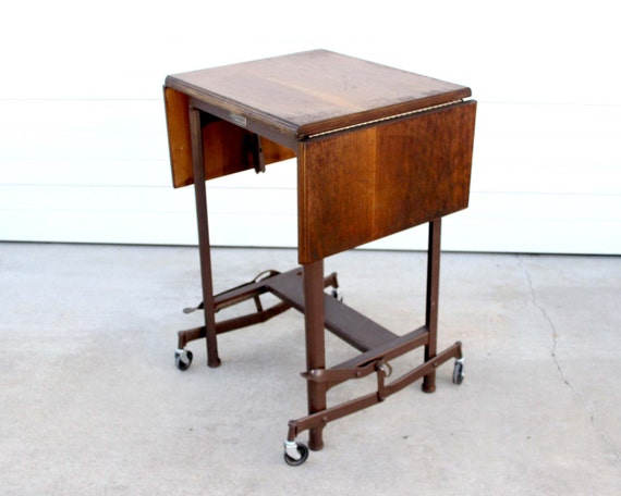 Industrial metal with wood drop leaf typing typewriter table - Reserved Hi Lo Typewriter Table Vintage Wood Typing Table