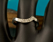 Custom made Diamond wedding band designed to fit our Crescent engagement ring