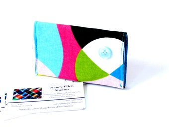 Business card holder, credit card case, business card case, gift for her, card organizer, purse accessory, bold bright, magnetic snap