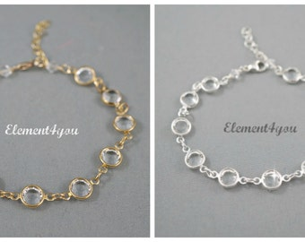 Wedding Bracelet Bridal Jewlery Bridesmaid gift Swarovski crystals cuplinks Channel Mother of bride gift Silver gold links Clear crystals