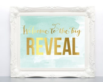 Printable Gender Reveal Party - Mint, Peach and Pink