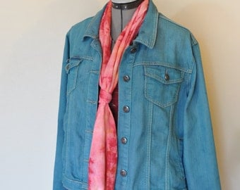 """Teal XL Denim JACKET - Aqua Teal Dyed Upcycled Earl Jean Denim Trucker Jacket - Adult Womens Plus Size Extra Large (50"""" chest)"""