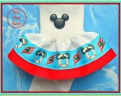 Disney Cruise inspired boutique girls ruffle sock in nautical theme - you pick custom ribbon colors - perfect for Disney Cruise outfits