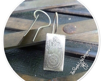 Non Violence Hamsa, German Silver and Silver earrings, ThePurpleLilyDesigns