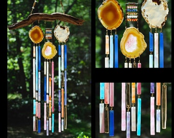 Wind Chimes Recycled Beach Glass Sea Glass Suncatcher Driftwood Wind Chimes Stained Glass Sun Catcher - The Three Graces