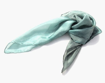 Smoke & Aqua hand dyed silk scarf, Ombre light grey blue headband