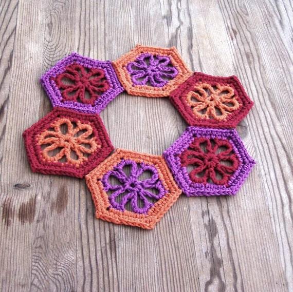Crochet Kitchen Rugs: Dahlia Mug Rug Dahlia Coasters Floral Mug Rug Crochet By