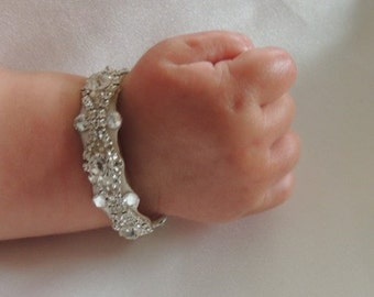 baby rhinestone baptism party flower girl bracelet