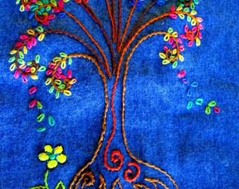 Tree Of Life / Vintage Jean Vest / Embroidered Vest / Hippie / Boho / Vintage Jean Top / Wearable Art / Womens Jean Vest/ Cotton Vest