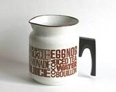 Pitcher, Vintage Enameled Pot Pitcher Retro Graphics Lemonade Iced Tea Bouillon