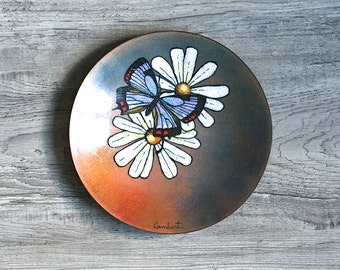 Enameled Dish, Painted Mid Century Copper Enamel Art Dish Butterflies Signed