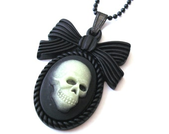 Glow in the Dark Skull Necklace, Zombie Necklace, Black Cameo Necklace, Skeleton Necklace, Black Skull and Bow Necklace