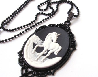 Unicorn Necklace, Black and White Unicorn Cameo Necklace, Monochrome, Black Unicorn Necklace