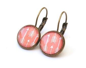 Pretty Peach Arrow Earrings, Drop Earrings, Glass Cabochon Earrings, Peach Earrings