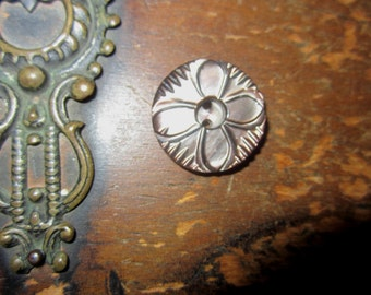 Vintage Carved Smokey Mother of Pearl Button   Victorian Carved Crazy Quilt Embellishment