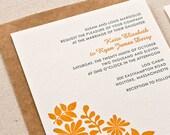 Botanical Wedding Invitation, Letterpress printed SAMPLE